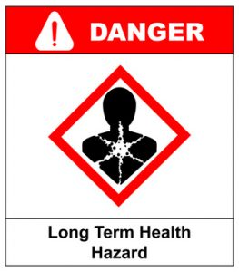 Long term health hazard, man in red rhombus symbol. Danger banner for factory. Vector illustration. Warning sign with exclamation point.
