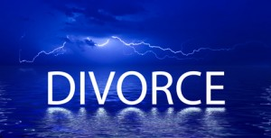 Divorce word with reflection in the water under the storm
