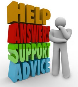 A thinking man stands confused and lost beside the words Help, Answers, Support and Advice waiting for someone to assist him in his question